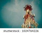 telecommunication tower antenna ... | Shutterstock . vector #1024764226
