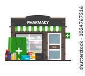 facade of pharmacy  the sale of ... | Shutterstock .eps vector #1024767316