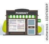 facade of pharmacy in the urban ... | Shutterstock .eps vector #1024768069