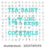 147 drinks thin vector icon set | Shutterstock .eps vector #1024769194