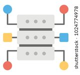 flat icon of database circuit