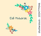 eid mubarak sign with flower... | Shutterstock .eps vector #1024779346