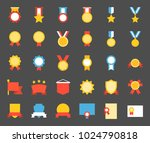 medal and badge icon  flat... | Shutterstock .eps vector #1024790818
