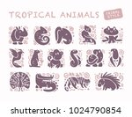collection of flat cute animal...   Shutterstock . vector #1024790854