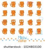"""meow sticker"" set. vector... | Shutterstock .eps vector #1024803100"
