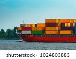 red container ship. logistics... | Shutterstock . vector #1024803883