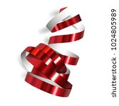 festive red ribbon on white... | Shutterstock . vector #1024805989