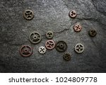 assorted gears spread out on... | Shutterstock . vector #1024809778