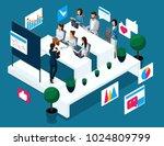 isometrics concept of coaching  ... | Shutterstock .eps vector #1024809799