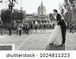 stunning newlyweds look luxury... | Shutterstock . vector #1024811323