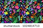 seamless exotic floral pattern...   Shutterstock .eps vector #1024814713