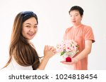 happy beautiful asian woman... | Shutterstock . vector #1024818454