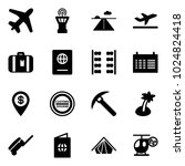 solid vector icon set   plane...   Shutterstock .eps vector #1024824418