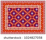 colorful mosaic oriental rug... | Shutterstock .eps vector #1024827058