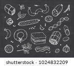 vector food. sausages set. meat ... | Shutterstock .eps vector #1024832209