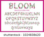 vector colorful flower font.... | Shutterstock .eps vector #1024838620