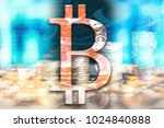 bitcoin in double exposure as a ... | Shutterstock . vector #1024840888