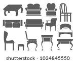 set of editable furniture icons....