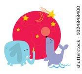 minimal animals  elephant seal  ... | Shutterstock .eps vector #1024848400