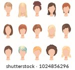 collection of female hairstyles.... | Shutterstock .eps vector #1024856296