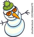 snowman in sunglasses cartoon...   Shutterstock .eps vector #1024866670