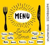 menu fork  knife  lunch time.... | Shutterstock .eps vector #1024866694