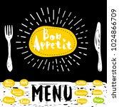 bon appetit poster with fork... | Shutterstock .eps vector #1024866709