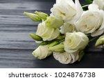 eustoma flowers on grey... | Shutterstock . vector #1024876738