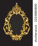 golden mirror frame with... | Shutterstock .eps vector #1024880800