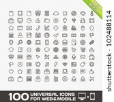 100 universal outline icons for ... | Shutterstock .eps vector #102488114