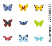 butterfly icons set. flat set... | Shutterstock .eps vector #1024885354