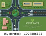 roundabout road junction and... | Shutterstock .eps vector #1024886878