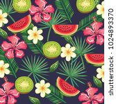 tropical garden with watermelon ... | Shutterstock .eps vector #1024893370
