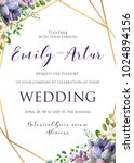 wedding floral invitation ... | Shutterstock .eps vector #1024894156
