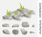 set of rock stones  laid on the ... | Shutterstock .eps vector #1024896433