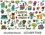 big vector set with cute spring ... | Shutterstock .eps vector #1024897048