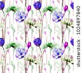 seamless wallpaper with flowers ... | Shutterstock . vector #1024897840