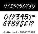 set of brush lettering numbers. ... | Shutterstock .eps vector #1024898578
