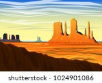 mountain and monument valley ...   Shutterstock .eps vector #1024901086