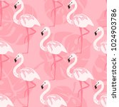 seamless with pink flamingo... | Shutterstock .eps vector #1024903786