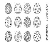 easter egg vector collection in ... | Shutterstock .eps vector #1024905724