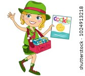 scout girl with cookies | Shutterstock .eps vector #1024913218