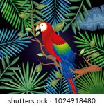tropical and exotic garden with ... | Shutterstock .eps vector #1024918480