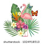 tropical and exotic garden with ... | Shutterstock .eps vector #1024918513