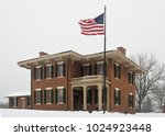 Photograph of the historic landmark home of Ulysses S. Grant in Galena, Illinois in winter.