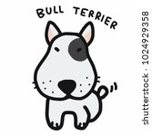 bull terrier dog cartoon doodle ... | Shutterstock .eps vector #1024929358