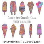 set of hand drawn ice creams.... | Shutterstock .eps vector #1024931284