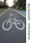 Small photo of Bike lane on asphalt with lines and symbol.Get healthy,zero carbon