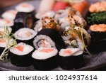 closeup sushi nigiri and rolls... | Shutterstock . vector #1024937614
