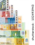 euro currency banknotes frame | Shutterstock . vector #102493943